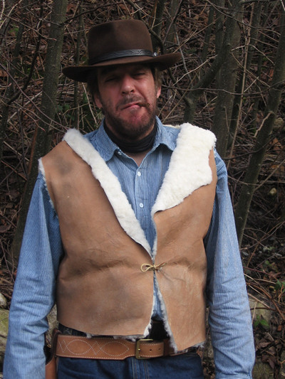The good bad and ugly spaghetti western faux sheepskin vest new